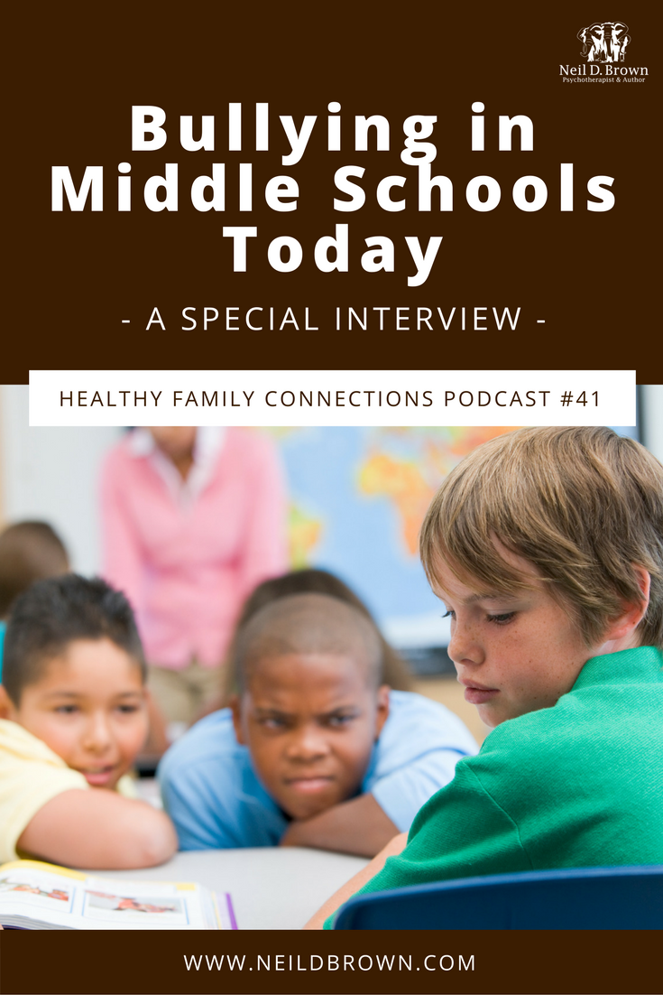 Episode 041 · In this special podcast, we hear from a principal on the topic of bullying in middle schools. She & Neil discuss what can be done to prevent it.